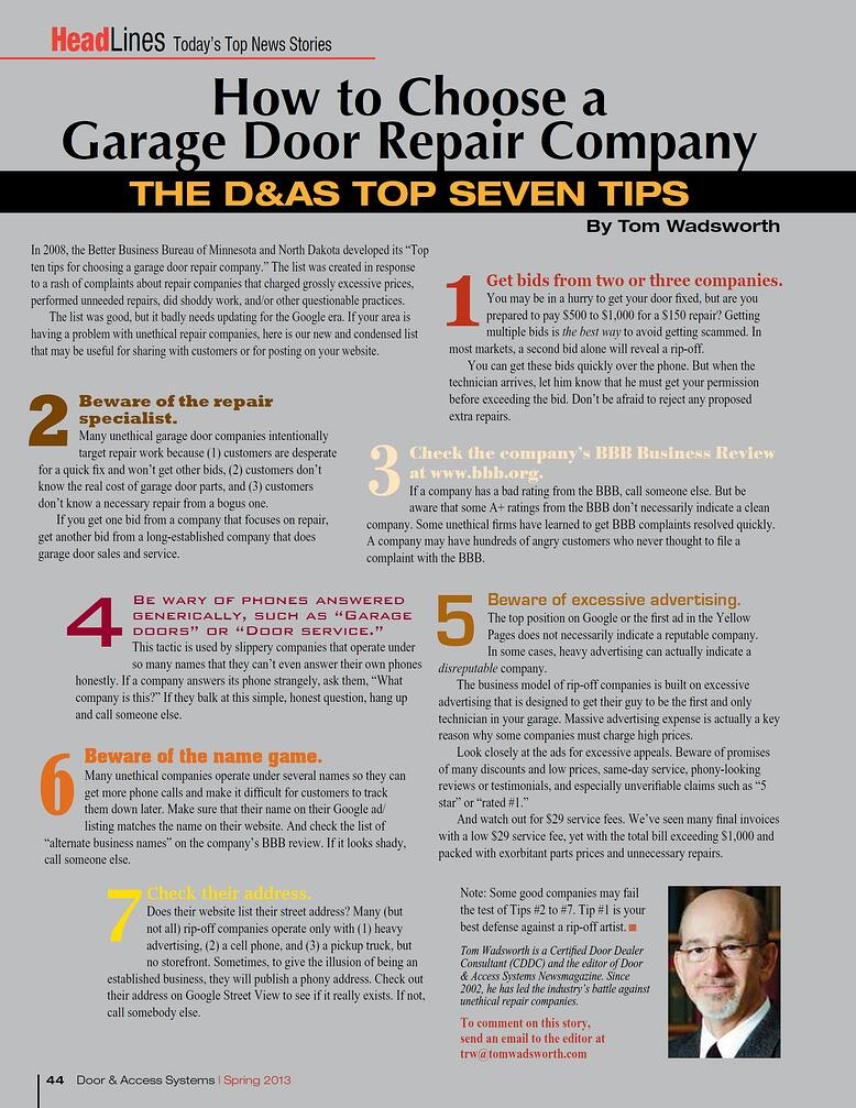 Top 7 Tips For Choosing A Garage Door Repair Company